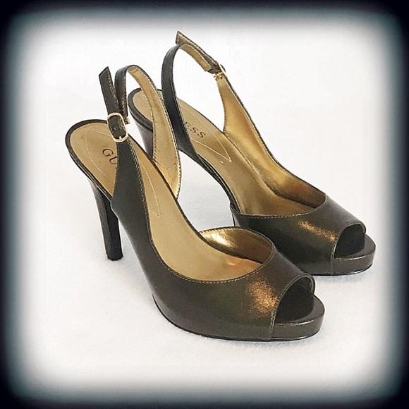 Guess Peep Toe Slingback Heel Sandals Sz 6
